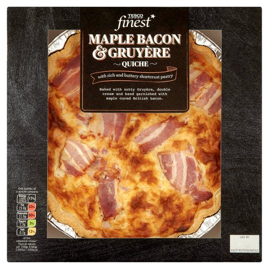 Tesco Finest Maple Bacon And Gruyere Quiche 400G