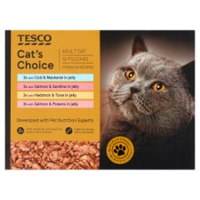Tesco Cat's Choice Fish Jelly Cat Pouches 12 X85g
