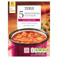 Tesco Minestrone And Croutons Soup In A Mug 5 Pack 115G