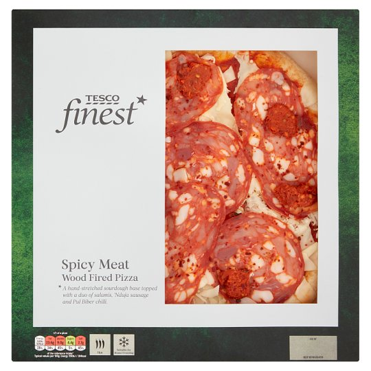 Tesco Finest Wood Fired Spicy Meat Pizza 414G