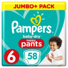 Pampers Baby Dry Size 6 Jumbo Plus Pack Nappy Pants 58