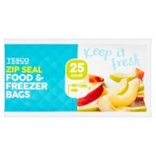 Tesco Zip Seal Food And Freezer Bags 25 Small