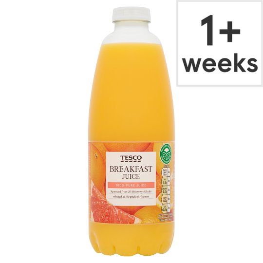 Tesco 100% Pure Squeezed Breakfast Juice Not From Concentrate 1 Litre