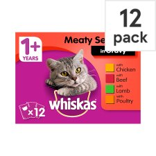 Whiskas 1+ Cat Food Pouches Mixed Variety in Gravy 12x100g