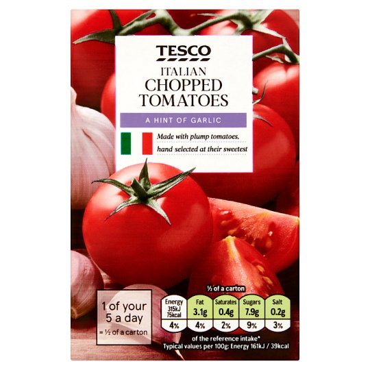 Tesco Italian Chopped Tomatoes Olive Oil And Garlic 390G