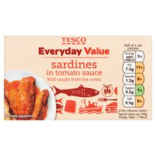 Tesco Everyday Value Sardines In Tomato Sauce 120G
