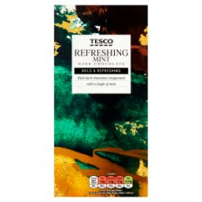 Tesco Plain Chocolate Bar With Mint 100G