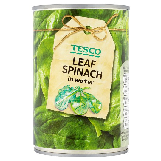 Tesco Leaf Spinach In Water 380G