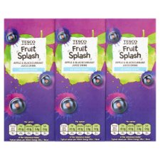 Tesco Apple And Blackcurrant Juice Drink No Added Sugar 3X250ml