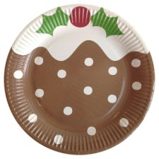 Tesco Christmas Pudding Plate 8 Pack Brown