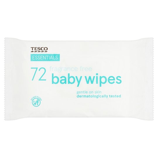 Tesco Essentials Fragrance Free Baby Wipes 72'S