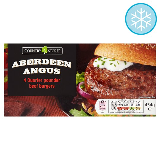 Country Store Aberdeen Angus Quarter Pounders 4 Pack 454G