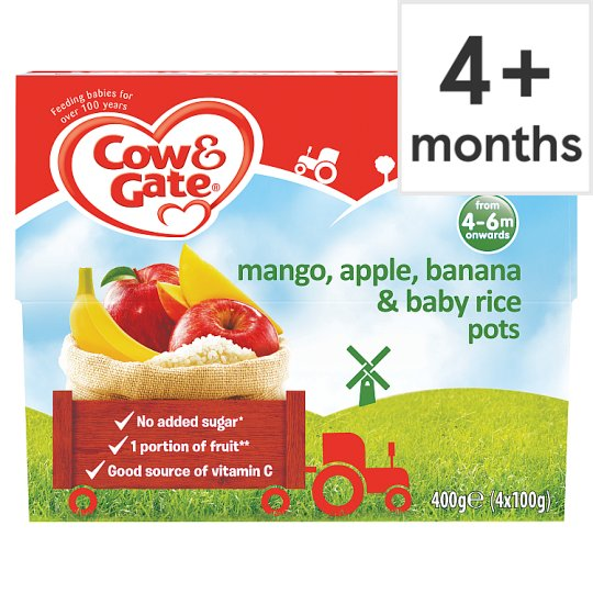 Cow & Gate Mangoes Banana Apples And Baby Rice 4X100g
