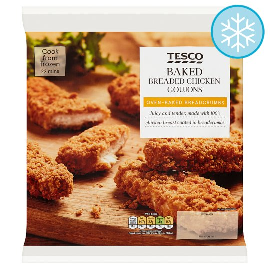 Tesco Frozen Baked Breaded Chicken Goujons 475G