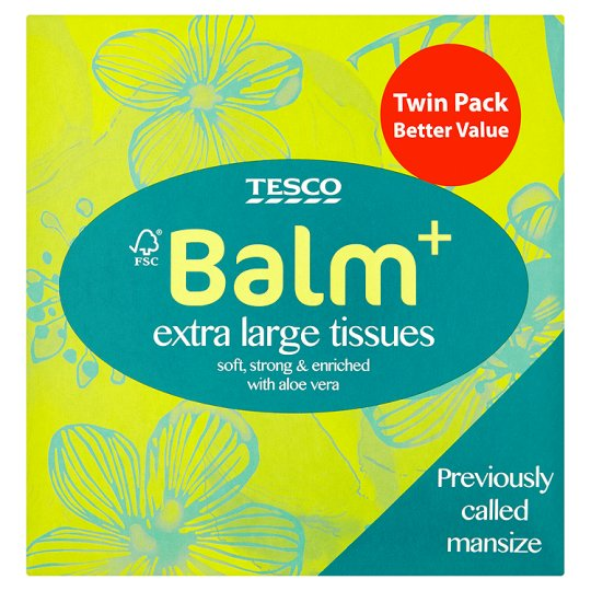 Tesco Balm Compact Extra Large Tissues Twin Pack