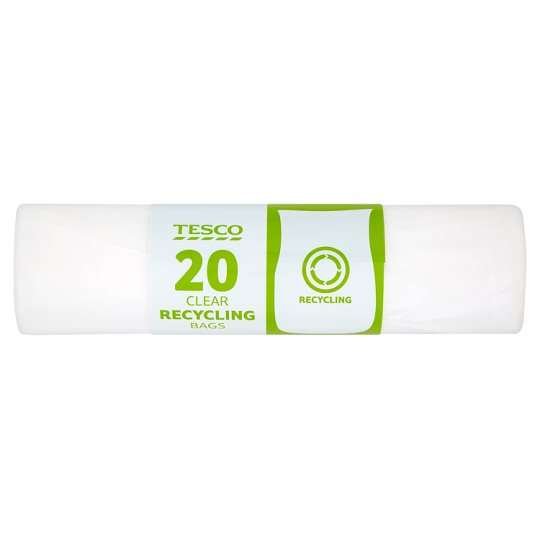 Tesco Clear Recycling Bags 20 Pack (70L)