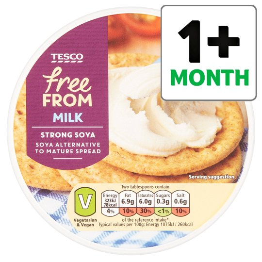 Tesco Free From Milk Strong Soya Cheddar Style Spread 255G