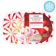 Tesco Strawberry And Cream Ice Cream Tub 900Ml