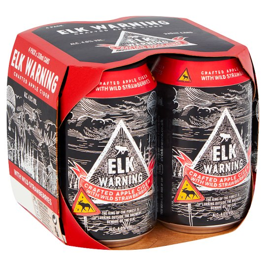 Elk Warning Strawberry Cider 4X330ml Can