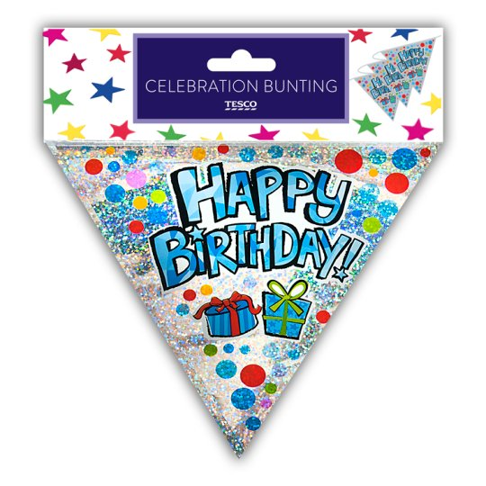 Tesco Happy Birthday Bunting Blue