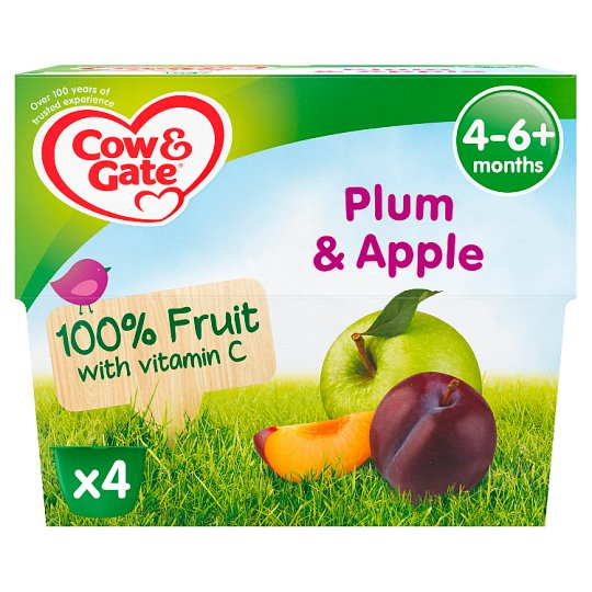Cow & Gate Plum And Apple Fruit Pot 4X100g 4 Mth+