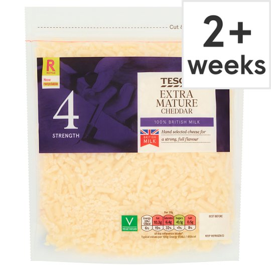 Tesco British Extra Mature Grated Cheddar Cheese 250 G