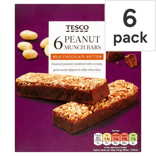 Tesco Peanut Munch Bar 6 Pack 192G