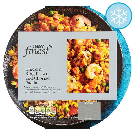 Tesco Finest Chicken King Prawn And Chorizo Paella 400G