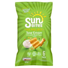 Walkers Sunbites Sour Cream & Black Pepper Snacks 6 X25g