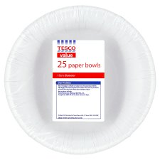 Tesco Value Paper Bowls 16Cm 25Pk