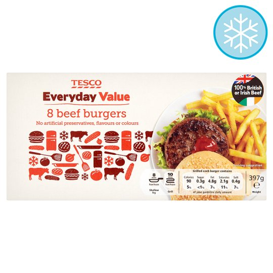 Tesco Everyday Value 8 Beef Burgers 397G