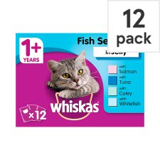 Whiskas 1+ Cat Food Pouches Fish in Jelly 12x100g