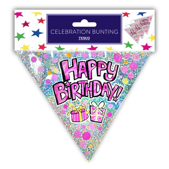 Tesco Happy Birthday Bunting Pink