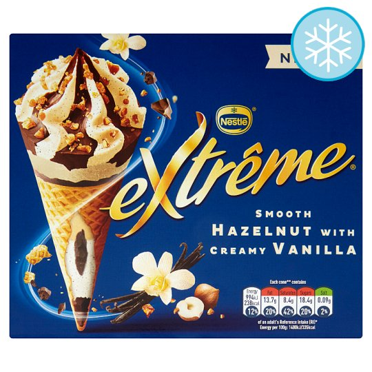 Extreme Hazelnut With Smooth Vanilla Ice Cream Cone 4X120ml