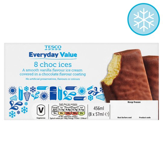 Tesco Everyday Value Chocolate Ices 8 X 57Ml