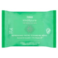 Tesco Kind And Pure Refresh Facial Wipes 25Pk