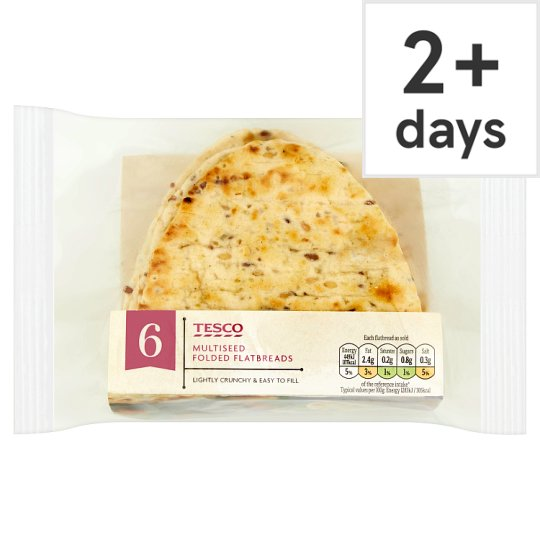 Tesco Multiseed Folded Flatbread 6 Pack