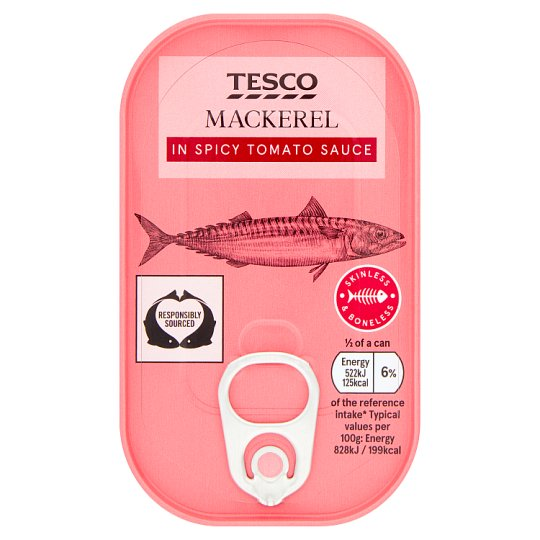 Tesco Skinless Boneless Scottish Mackerel Spicy Tomato Sauce 125G