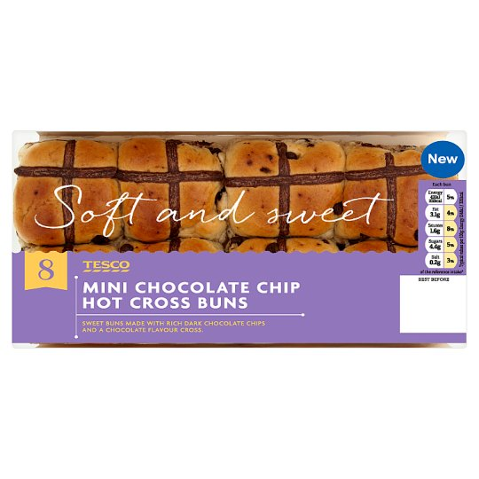 Tesco 8 Mini Chocolate Chip Hot Cross Buns