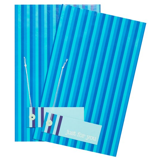 Tesco Blue Multi Stripe 2 Sheets 2 Tags