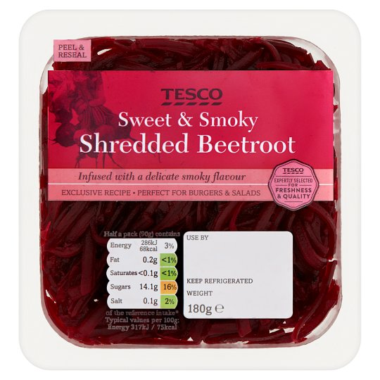 Tesco Smokey Shredded Beetroot 180G