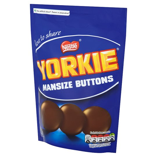 Yorkie Man Size Chocolate Buttons Pouch 120G