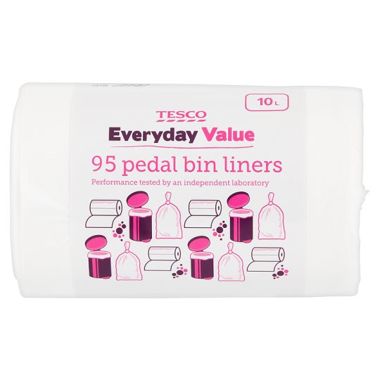 Tesco Everyday Value Pedal Bin Liners 95 Pack (10L)