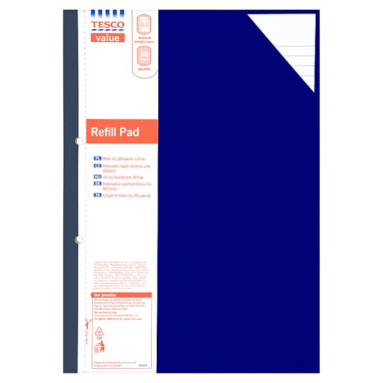 Tesco Basics A4 Refill Pad 160 Pages