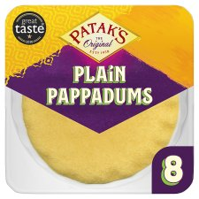 Pataks Ready To Eat Plain Pappadums 8 Pack