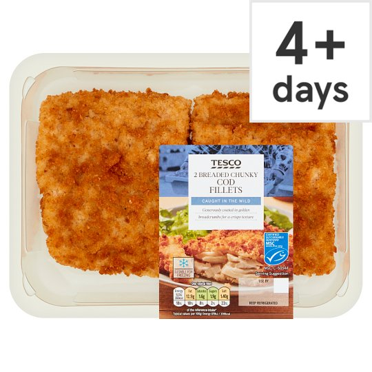 image 1 of Tesco 2 Breaded Chunky Cod Fillets 350G