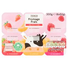 Tesco Fromage Frais Strawberry Apricot Raspberry 6X50g