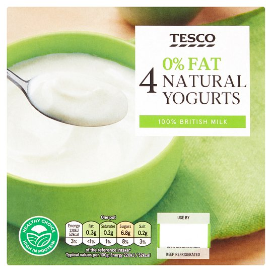 Tesco 0% Natural Yogurt 4X100g