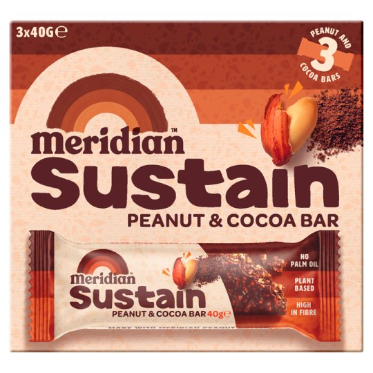 Meridian Peanut And Cocoa Bar 3Pack 40G