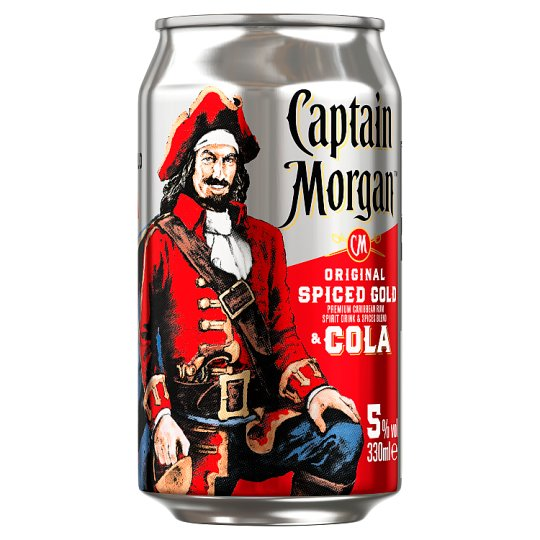 captain morgan spiced rum and cola 330ml tesco groceries